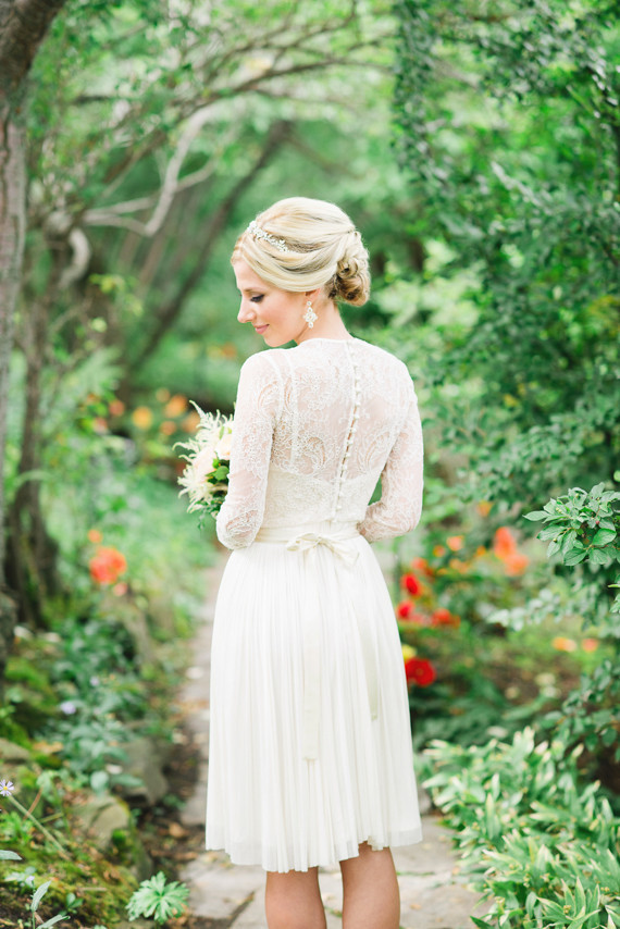 Intimate garden wedding bride