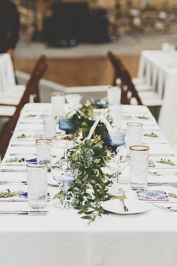 White, green and blue tablescape