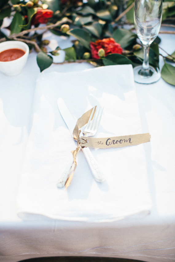 DIY Ojai Rancho Inn Wedding Place Setting