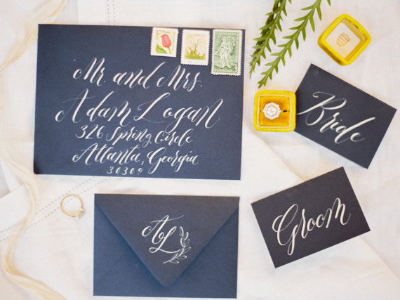 Dark blue wedding invitation