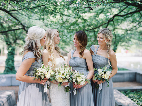 Bridesmaids with grey dresses
