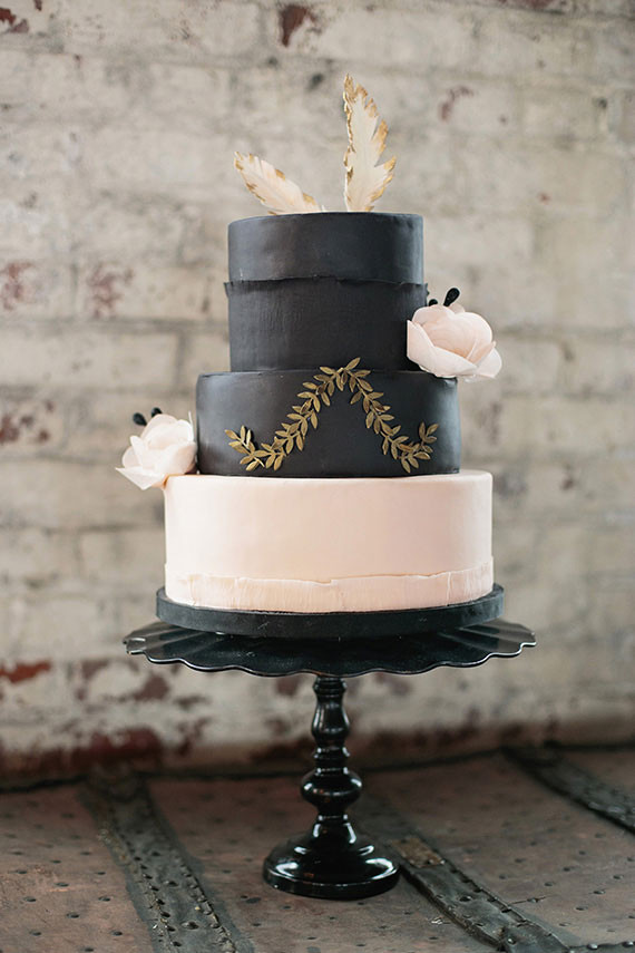 Industrial Wedding Black and Light Pink Cake