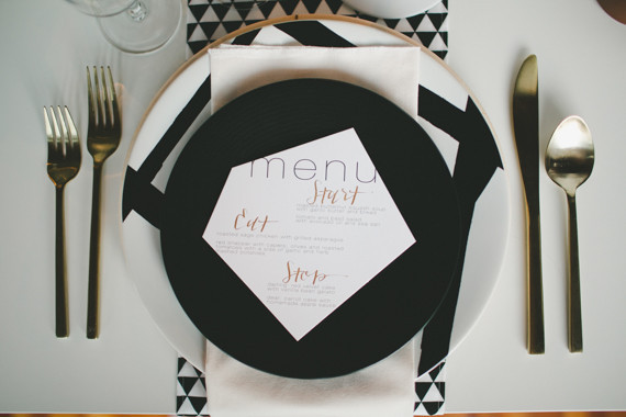 Rustic Black and White Wedding Place Setting