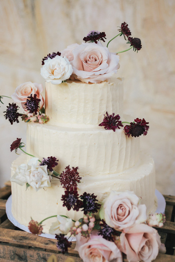 White and floral wedding cake