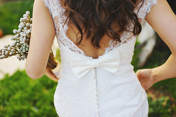 Wedding dress with bow