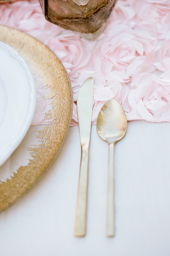 Gold flatware and place setting