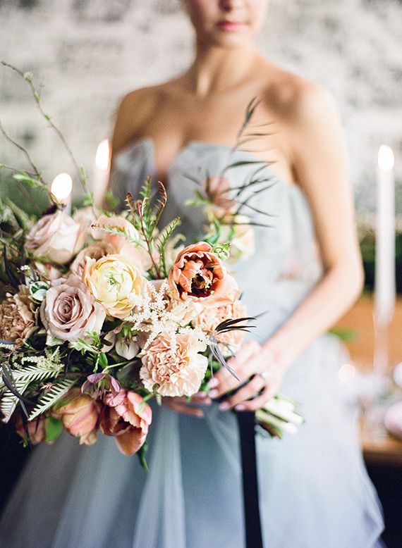 Blush and blue bouquet