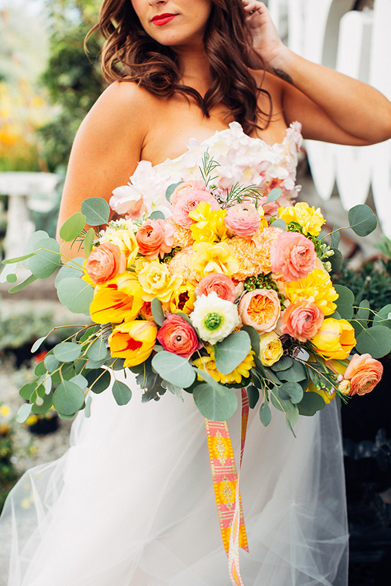 Citrus inspired wedding florals