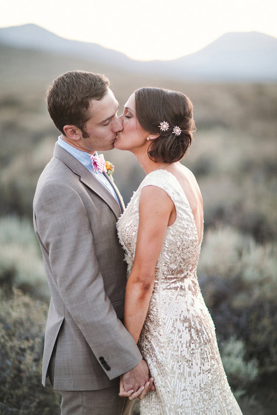 Outdoor wedding kissing photo