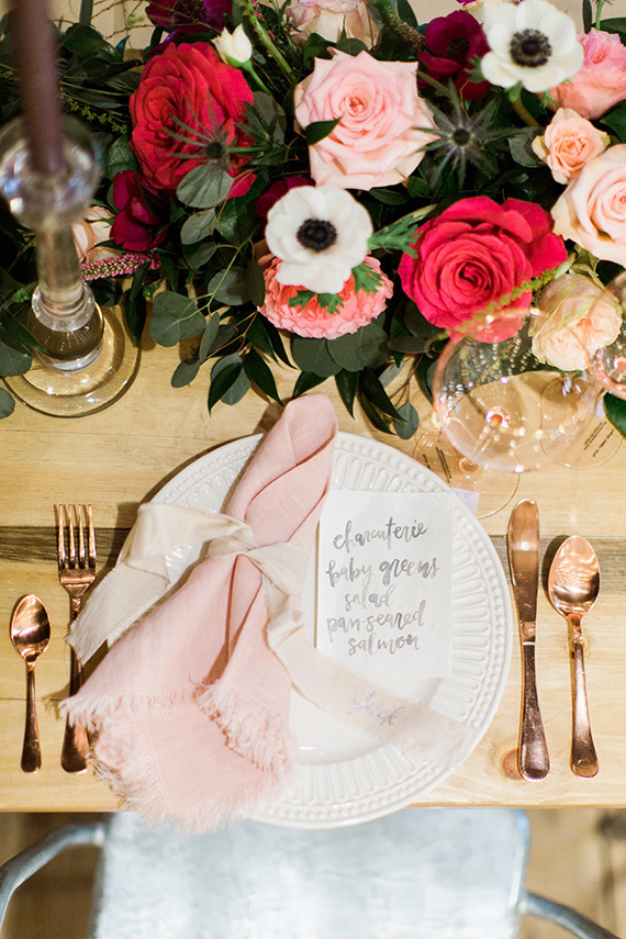 Pink and rose gold tablescape