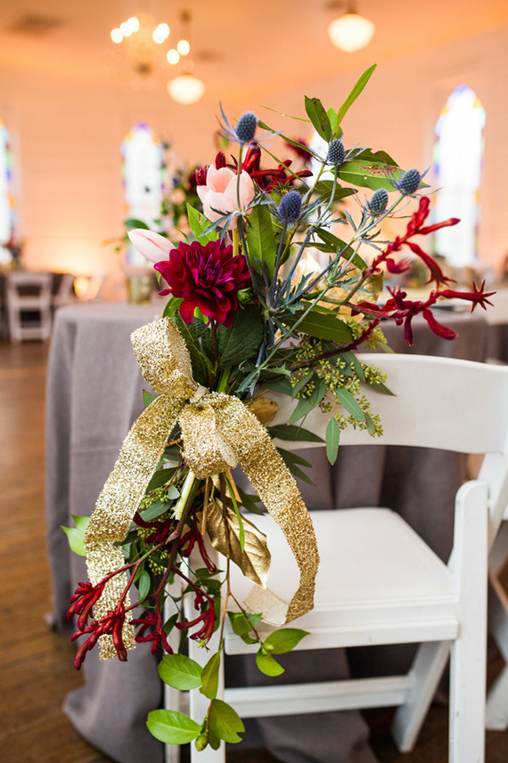 Gold and red floral chair decor