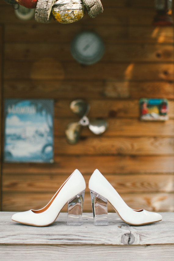 White wedding shoes with clear heels
