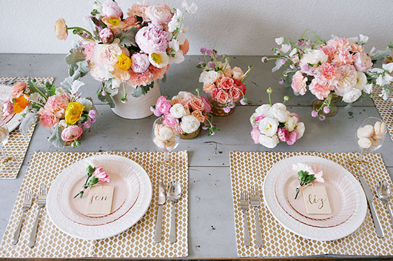 Pink and gold Mother's Day tablescape