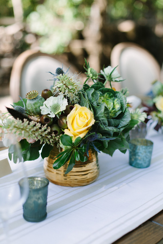 Outdoor dinner party florals
