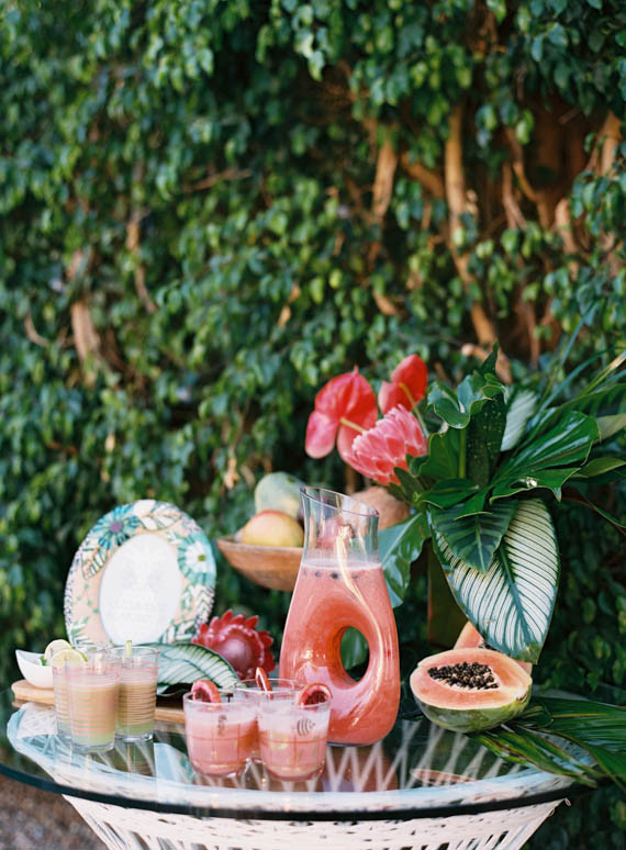 Tropical, summer wedding bar and cocktails