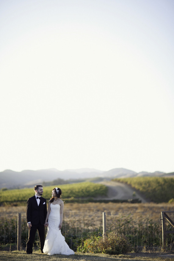 Winery fall wedding portrait