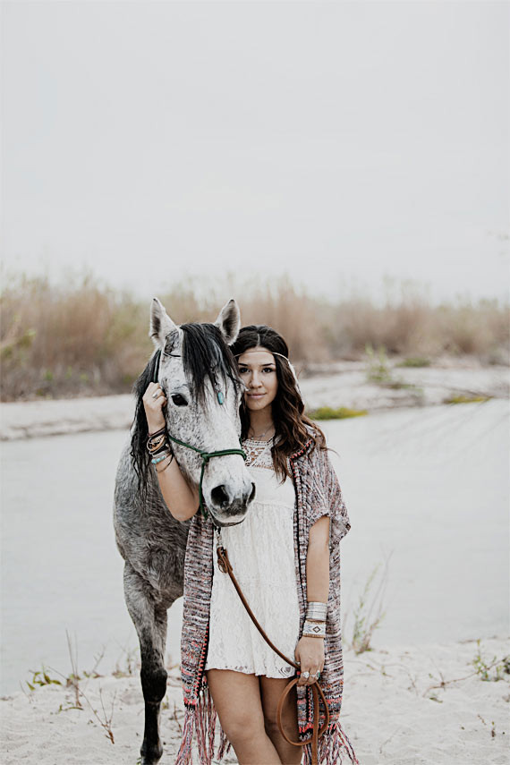 Bohemian inspired bride with white horse