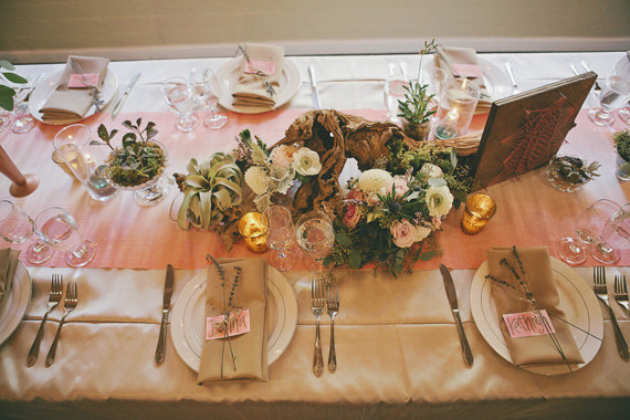 Bohemian cream and pink tablescape