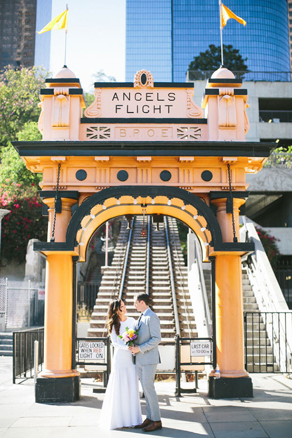 Modern downtown Los Angeles wedding portrait