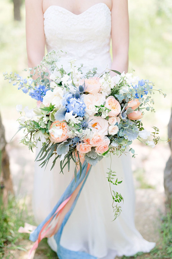 Pink and blue bridal bouquet wedding party ideas 100 layer cake mightylinksfo