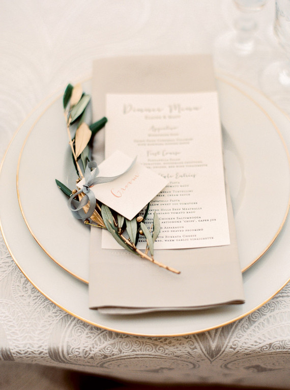 Gold leaf place cards