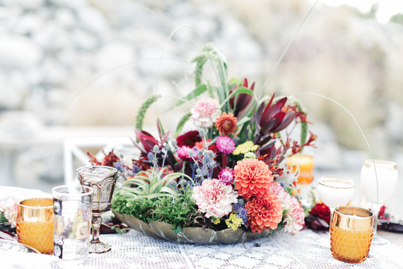 Bohemian wedding florals