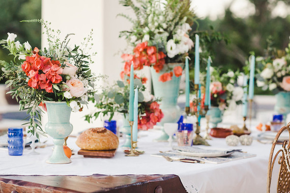 Santorini inspired wedding tablescape