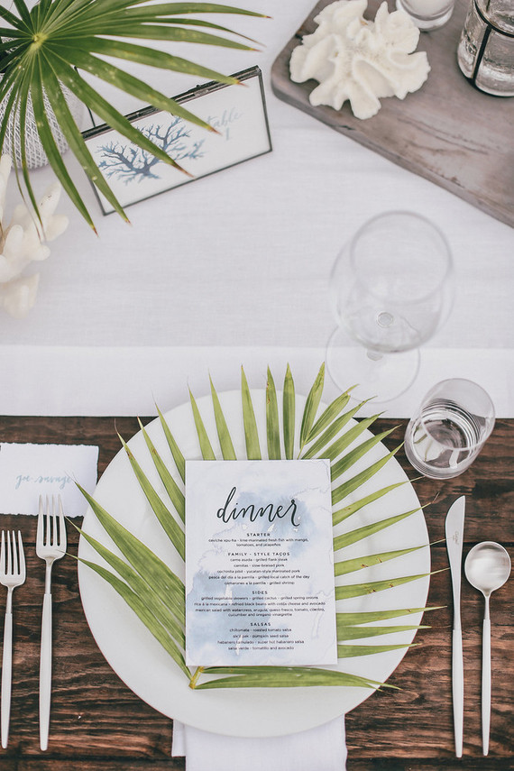 Palm Frond Place Setting Wedding Party Ideas 100 Layer Cake