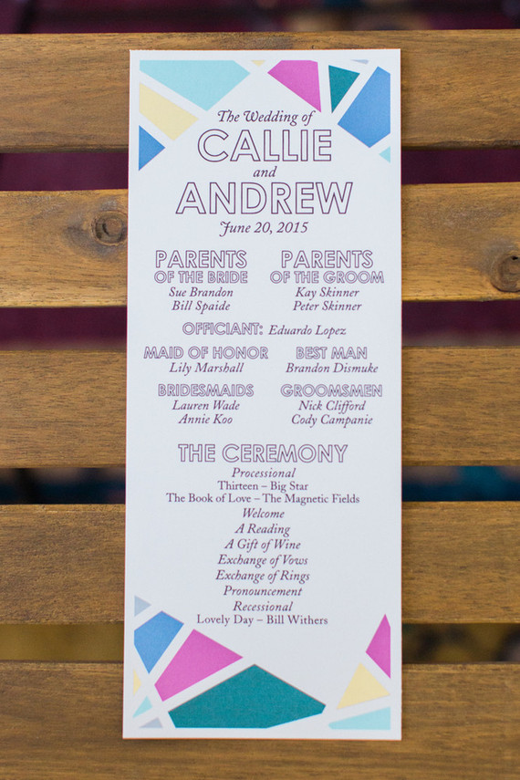 Modern wedding program