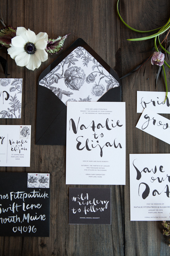 Industrial modern winter wedding invitation suite