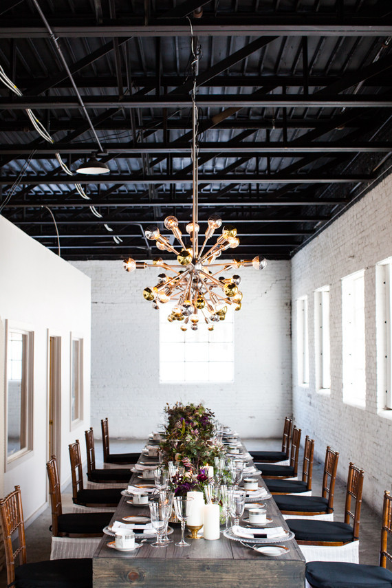Industrial modern wedding reception