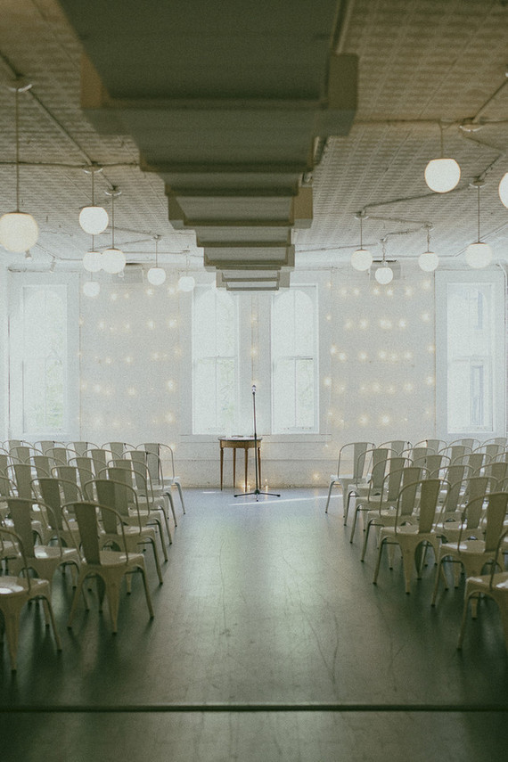 Modern white wedding ceremony