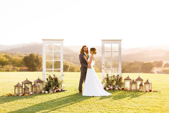 Fall wine country wedding portrait