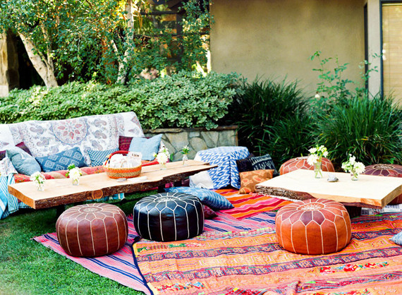 Backyard fiesta wedding lounge area