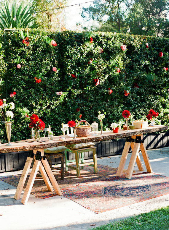 Backyard fiesta wedding tablescape