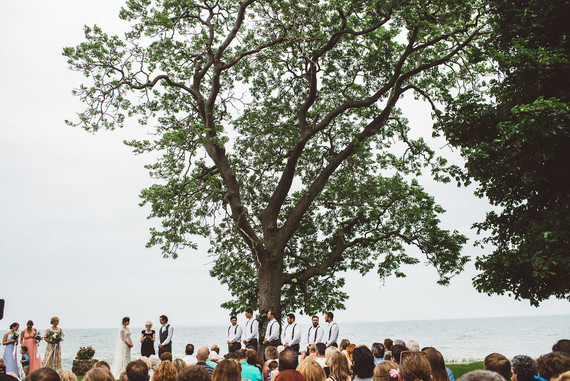 Lake house wedding ceremony