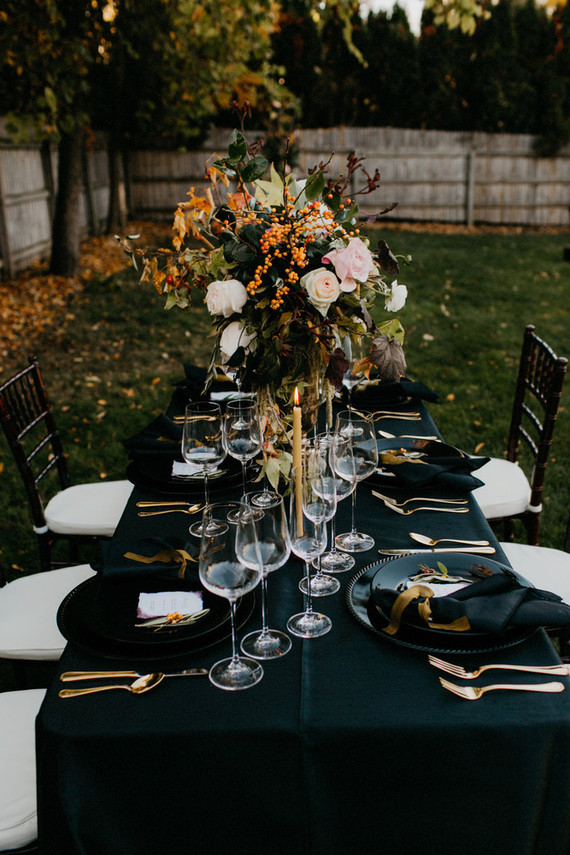 Moody fall wedding tablescape