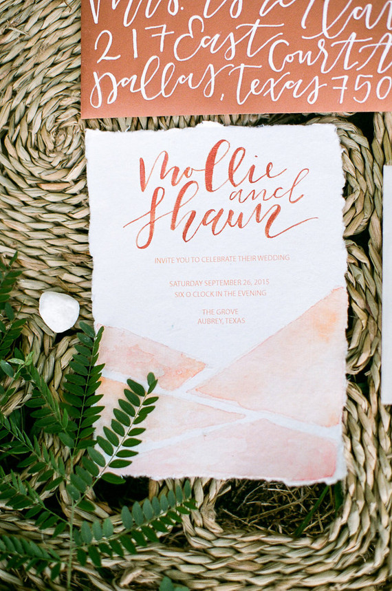 Bohemian copper wedding invitations