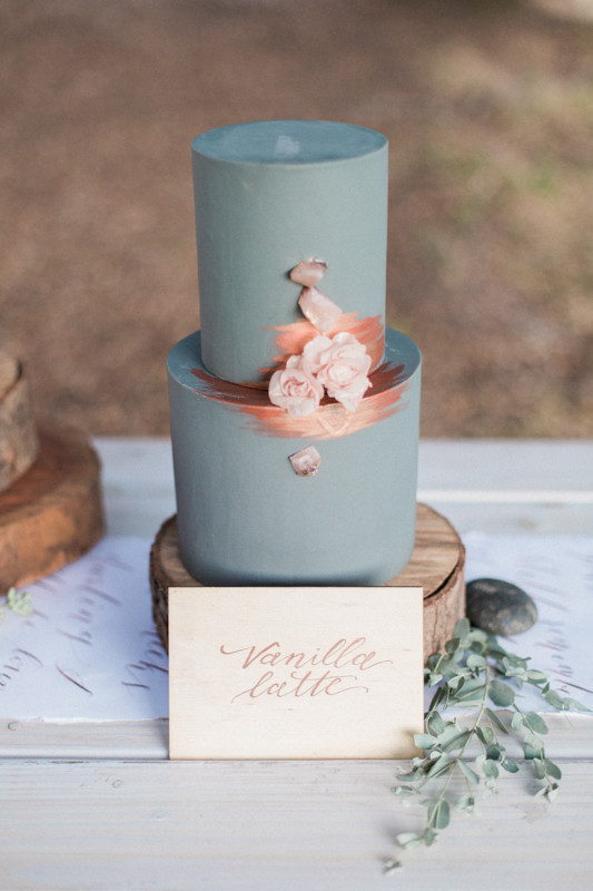 Blue and copper wedding cake