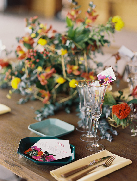 Colorful geometric wedding inspiration
