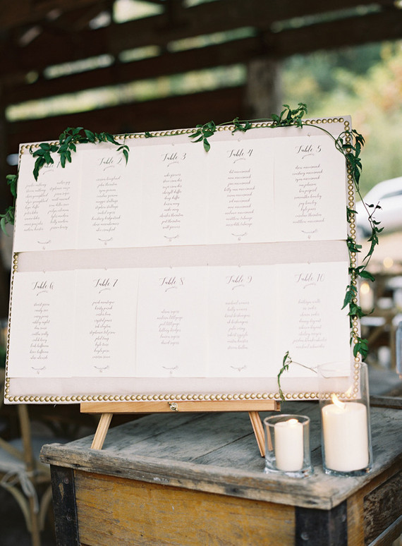 Escort card setting chart