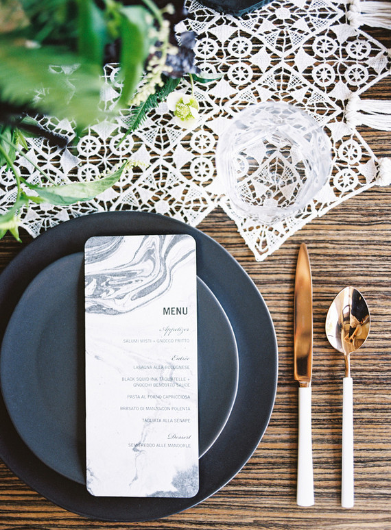 Modern black, white, and gold rehearsal dinner