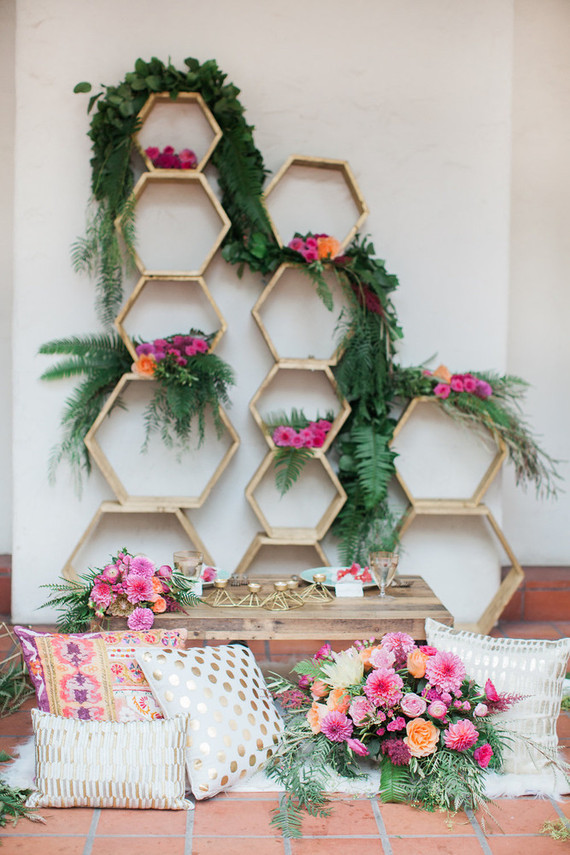 Colorful spring wedding decor