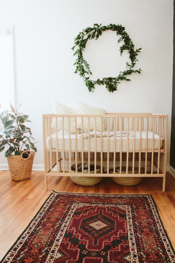 Gender neutral bohemian nursery wedding party ideas for Simple nursery design