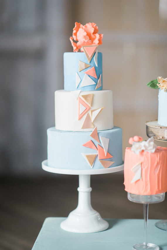 Modern geometric cake display