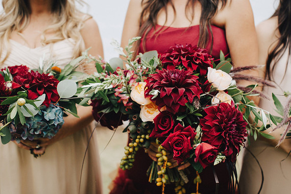 Rich red bridal bouquet