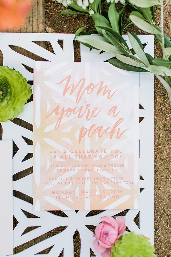 Peach mother's day brunch invite