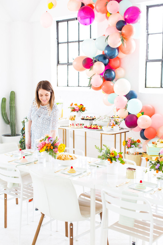 colorful bridal shower wedding party ideas 100 layer cake