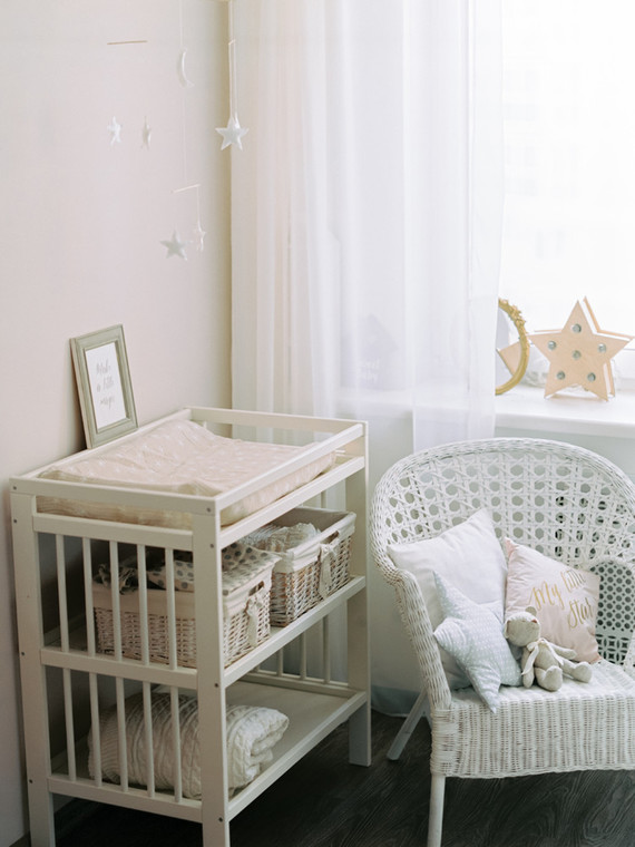 Grey and white girl's nursery