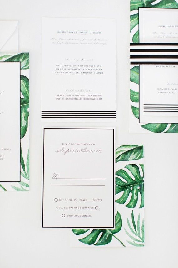 Palm leaf wedding invitations
